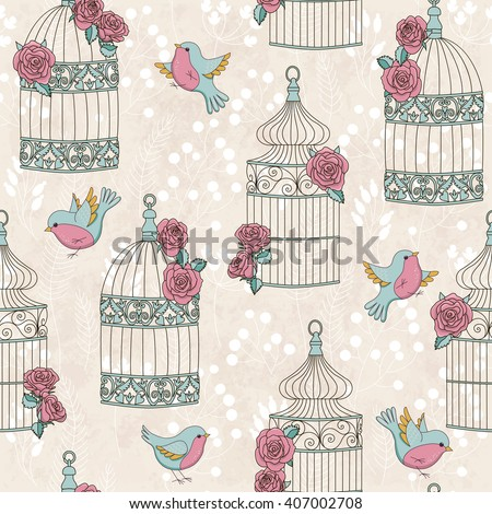 Seamless pattern with birds, birdcages and roses. Vintage romantic illustration. Perfect for invitations, wallpapers, manufacture wrapping paper, textile, wedding and web design. Raster illustration.