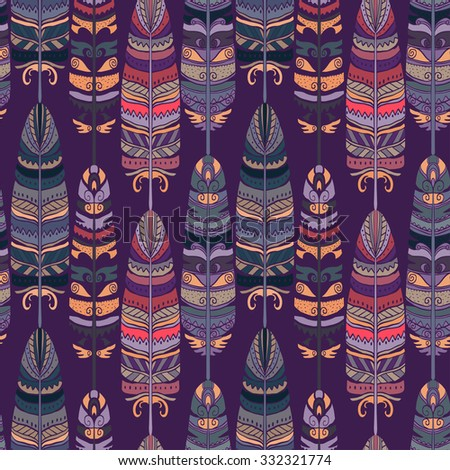 Seamless pattern with birds feathers. Tribal art animal background texture,  boho, vintage  print. Cloth design, wallpaper, wrapping - stock photo