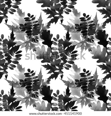 seamless pattern with black and white leaves.