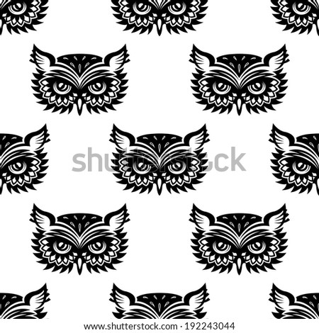Seamless pattern with black owl head for any background design. Vector version also available in gallery - stock photo