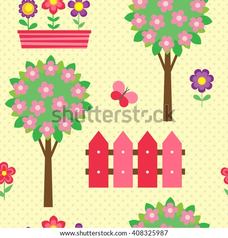 Seamless pattern with blooming trees and flowers
