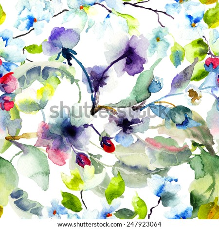 Seamless pattern with Blossoming tree brunch, watercolor illustration - stock photo