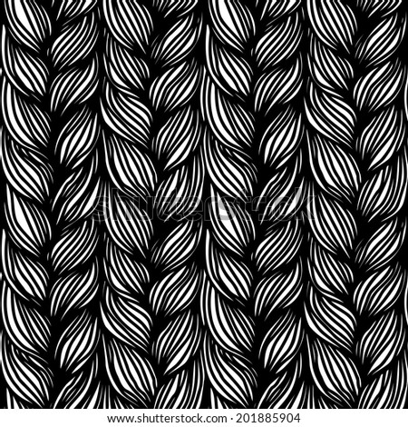 Seamless pattern with braids. Background in form of hairstyle in plaits. Illustration of yarn or knitted fabric close-up for print, web - stock photo