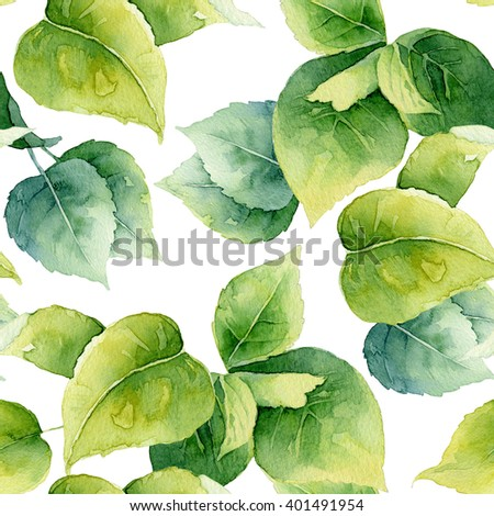 Seamless pattern with bright green leaves. Watercolor illustration - stock photo