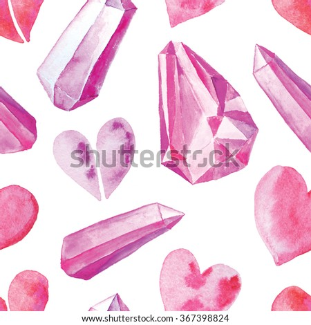 Seamless pattern with bright hand painted watercolor hearts and crystal. Romantic decorative background perfect for Valentine's day gift paper, wedding decor or fabric textile  - stock photo