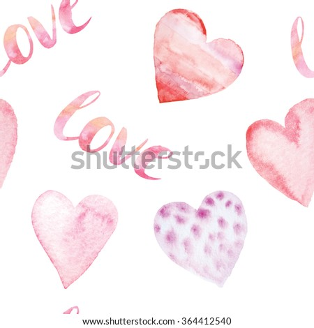 Seamless pattern with bright hand painted watercolor hearts and letters. Romantic decorative background perfect for Valentine's day gift paper, wedding decor or fabric textile  - stock photo
