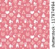 seamless pattern with bright kid icons - abstract background for children - stock vector