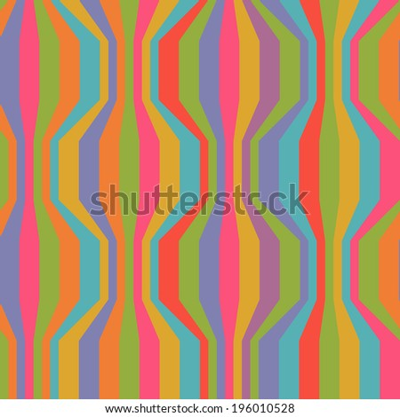 Seamless pattern with broken wavy color strips. Vintage background. Illustration with texture for print, web