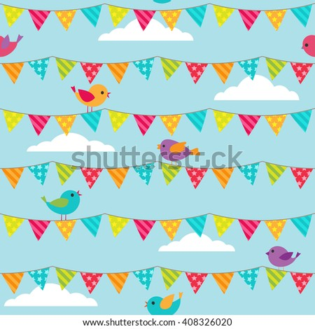 Seamless pattern with bunting and sitting birds on blue background - stock photo