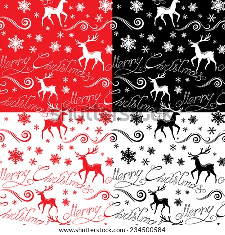 Seamless pattern with calligraphic text Merry Christmas, snowflakes and xmas symbols for winter and xmas theme in red, black and white colors. Raster version - stock photo