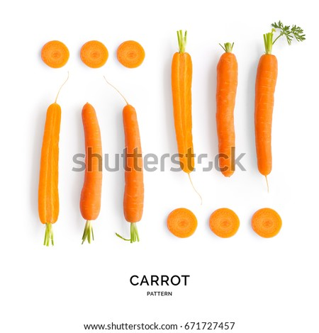 Seamless pattern with carrot. Vegetables abstract background. Carrot on the white background.