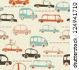 seamless pattern with cars in retro colors - stock photo