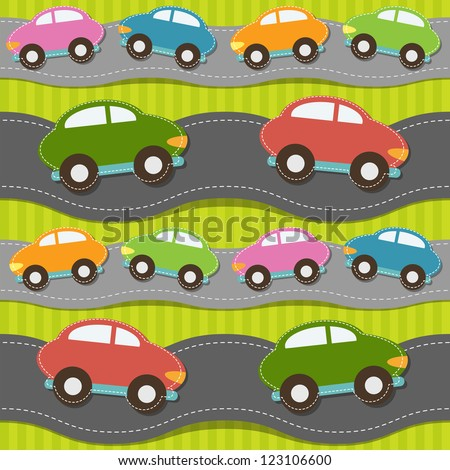 Seamless pattern with cars. Raster version - stock photo
