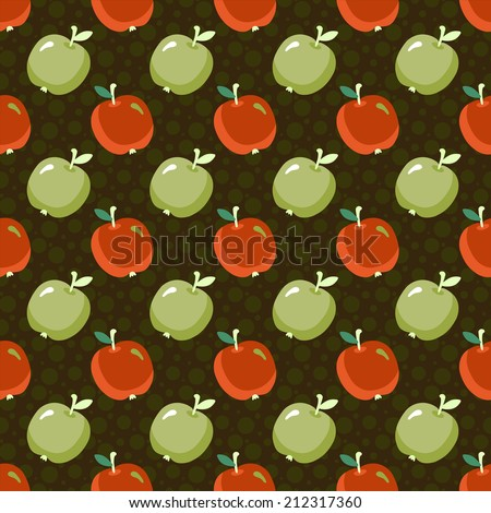 Seamless pattern with cartoon apples and circles. Fruit. Food background. Hand drawing illustration. Endless texture. Retro. Vintage style. Fabric design. Wallpaper - raster version  - stock photo
