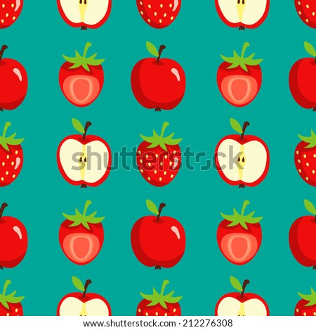 Seamless pattern with cartoon apples and strawberries Fruits repeating background. Endless print texture. Fabric design. Wallpaper - raster version  - stock photo