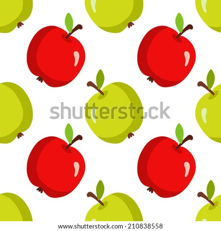 Seamless pattern with cartoon apples on a white background. Endless texture background. Fabric design. Wallpaper - raster version - stock photo