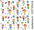 Seamless pattern with cartoon happy kids on it (raster version) - stock photo