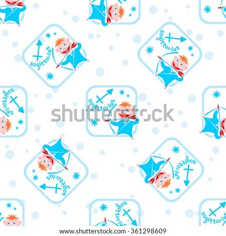 Seamless Pattern Cartoon Horoscope Symbol Sagittarius Stock
