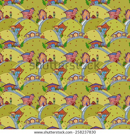 Seamless pattern with cartoon houses in summer colors - stock photo