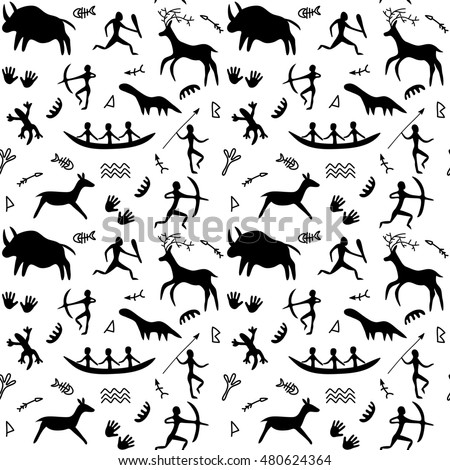Seamless Pattern with Cave Drawings Theme, black silhouettes of hunting caveman and wild animals. Ancient scene