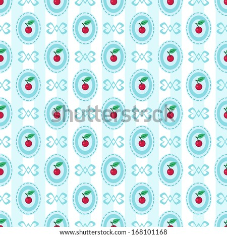 Seamless pattern with cherry - stock photo