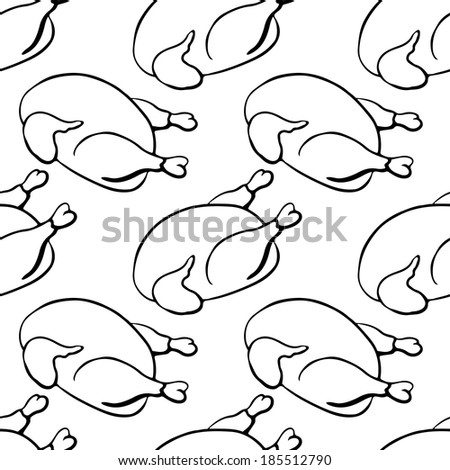Seamless  pattern with chicken. Hand drawing cartoon illustration in black and white - raster version - stock photo