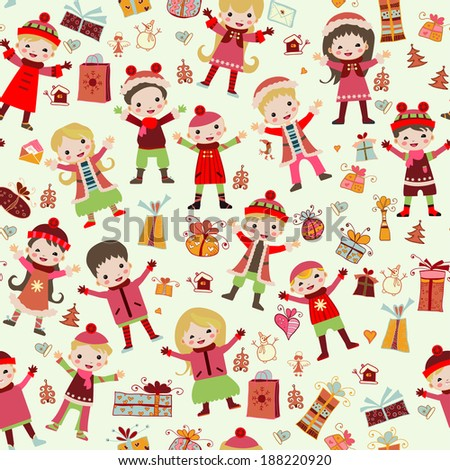 Seamless pattern with children in winter clothes. Winter children's texture. Can be used for your wallpaper, packaging, background. Rasterized Copy - stock photo