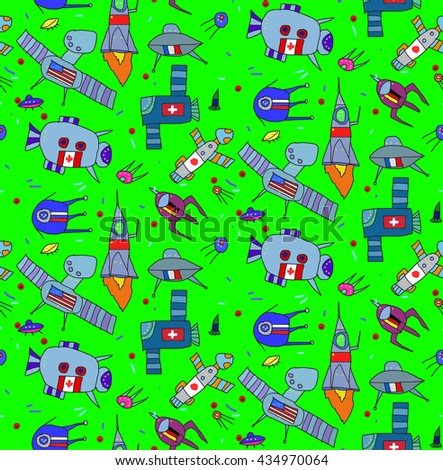 Seamless pattern with children's drawings of space and spacecraft with flags of different countries.