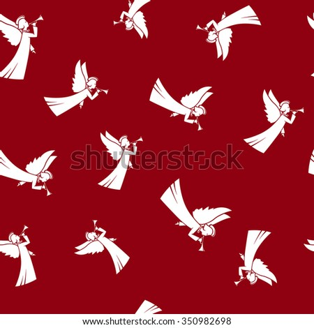 Seamless Pattern with Christmas Angel  ,Christmas Angel  on a Red Background - stock photo
