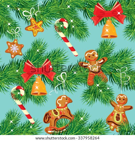 Seamless pattern with Christmas fir tree branches, candies, bell and xmas gingerbread, winter holiday background. Raster version - stock photo