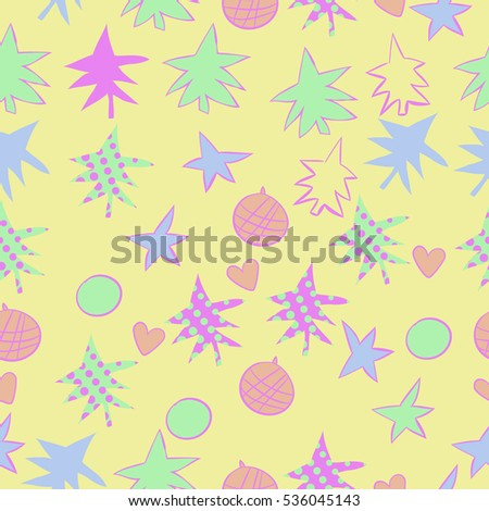 Seamless  pattern with  Christmas motifs. Hand drawn.