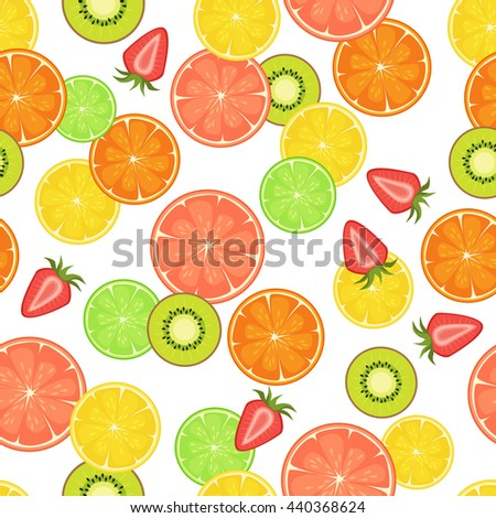 seamless pattern with citrus, strawberry and kiwi slices. On white isolated background. Food design for wrapping paper, textile.