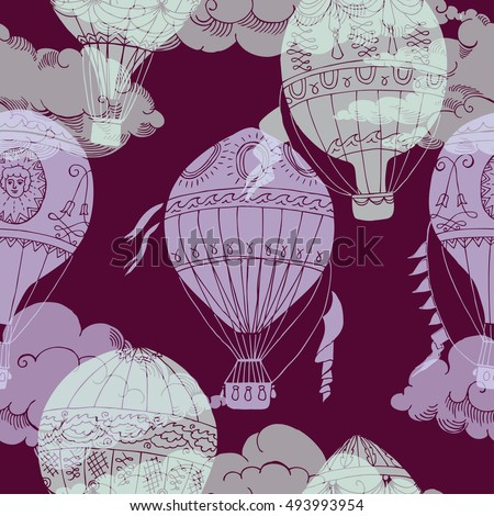 Seamless pattern with clouds and hot air balloons. Hand drawn sketches.  Illustration