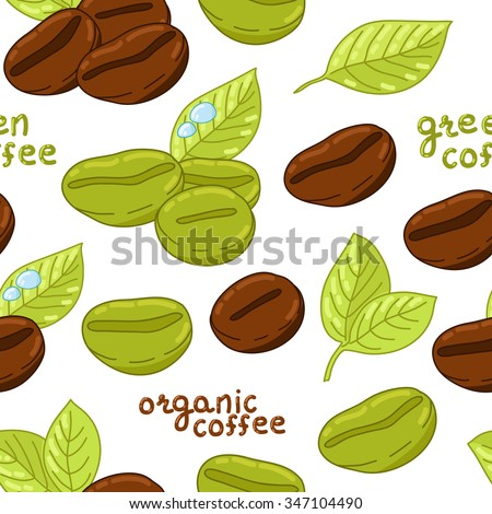 Seamless pattern with coffee beans and green leaves. Background with hand drawn stylized coffee elements