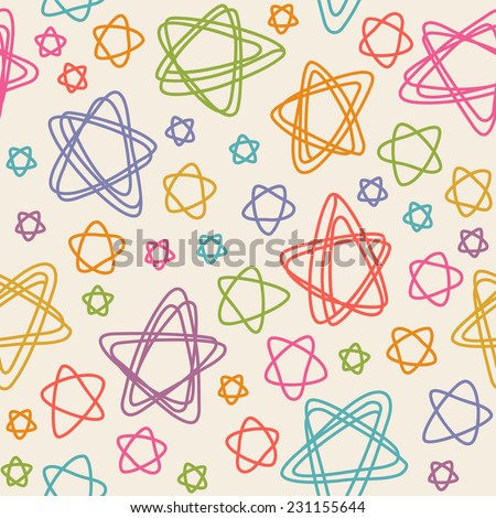 Seamless pattern with color stars of doodles. Texture in childish hand drawn style. Illustration for print, web