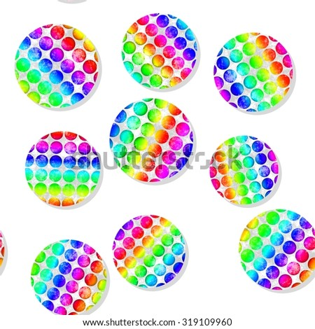 Seamless pattern with colorful dotted circles on white background