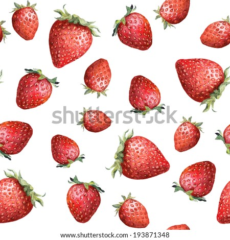 Seamless pattern with colorful strawberry isolated on white background. Aquarelle picture - stock photo