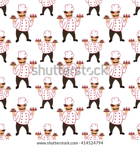 seamless pattern with confectioner with  chocolate cakes with cherry. - stock photo