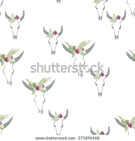 Seamless pattern with cow skull - stock photo