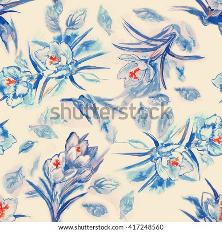 Seamless pattern with crocus blue.Hand panting.Raster illustration. - stock photo