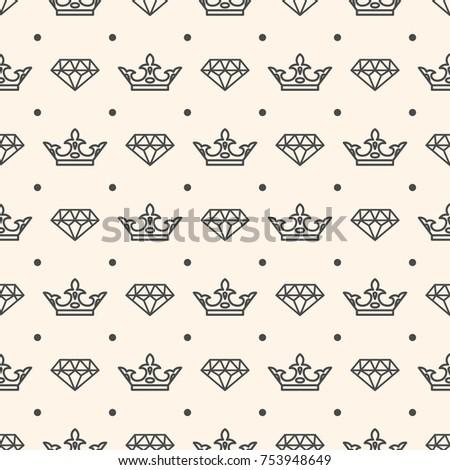 Seamless Pattern Crown Diamond Symbols Wedding Stock Illustration