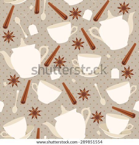 Seamless pattern with cups and teapots and cinnamon sticks. Raster version illustration - stock photo