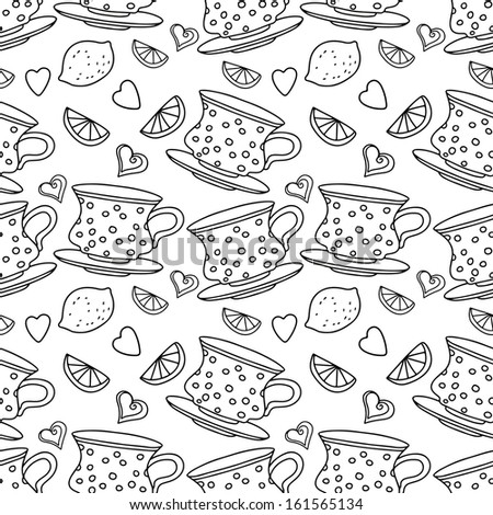 Seamless pattern with cups, lemons and  hearts in black and white - raster version - stock photo