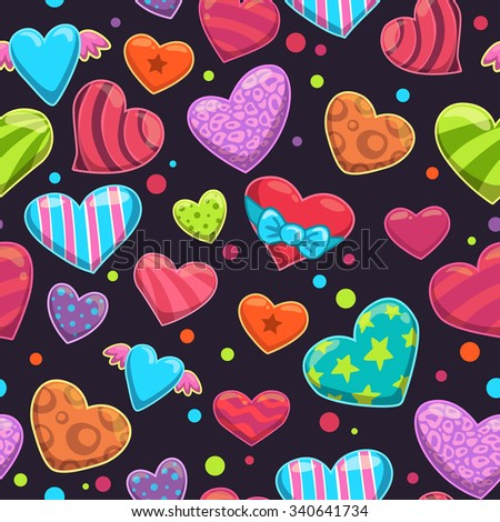 Seamless pattern with cute cartoon bright hearts on the dark background - stock photo