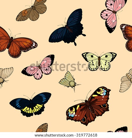 Seamless pattern with cute colorful butterflies (raster version) - stock photo