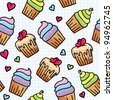 seamless pattern with cute cupcakes, hand drawn illustration - stock vector