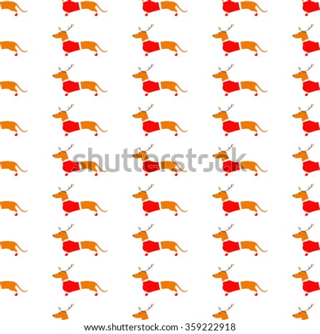 Seamless pattern with cute dachshund in reindeer horns and Christmas suit on white background. Flat style illustration - stock photo