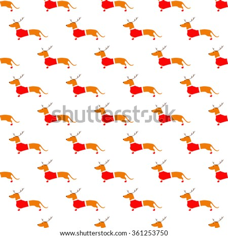 Seamless pattern with cute dachshund in reindeer horns and red Christmas suit situated in staggered rows on white background. Flat style illustration - stock photo