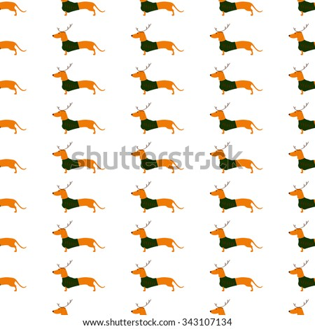 Seamless pattern with cute dachshund wearing Christmas suit, greed jersey decorated with red stripes and brown reindeer horns isolated on white background - stock photo