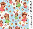 seamless pattern with cute girls and sweets (vector available in my gallery) - stock photo